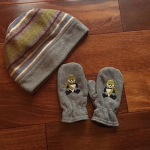 Janie and jack hat and mitten set panda bear theme